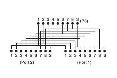 Adattatore con cavetto cm.15 1 maschio 8 poli – 2 x 8 poli femmina (at-ag cx2)