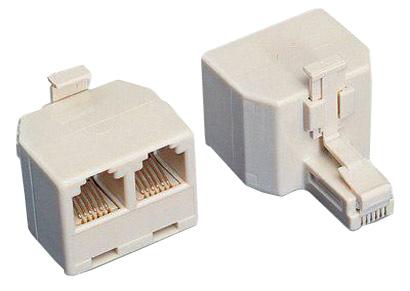 Adattatore telefonico rj 45 1×8 poli maschio 2×8 poli femmina