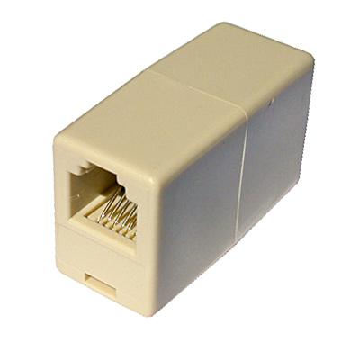 Accoppiatore telefonico 2 connettori rj11 – 6p4c femmina/femmina colore bianco