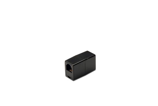 Accoppiatore telefonico 2 connettori rj11 – 6p4c femmina/femmina colore nero