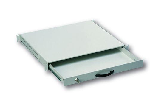 Cassetto estraibile con maniglia e chiusura a chiave per armadi rack 19″ misure mm. 482x45x492 colore grigio chiaro
