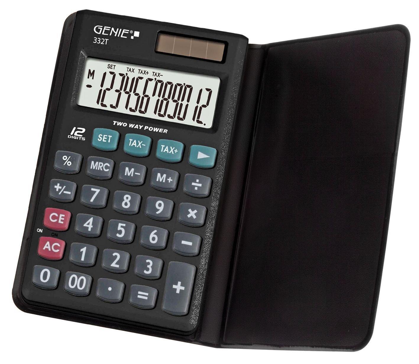 Calcolatrice solare portatile compatta 12 cifre con custodia protettiva