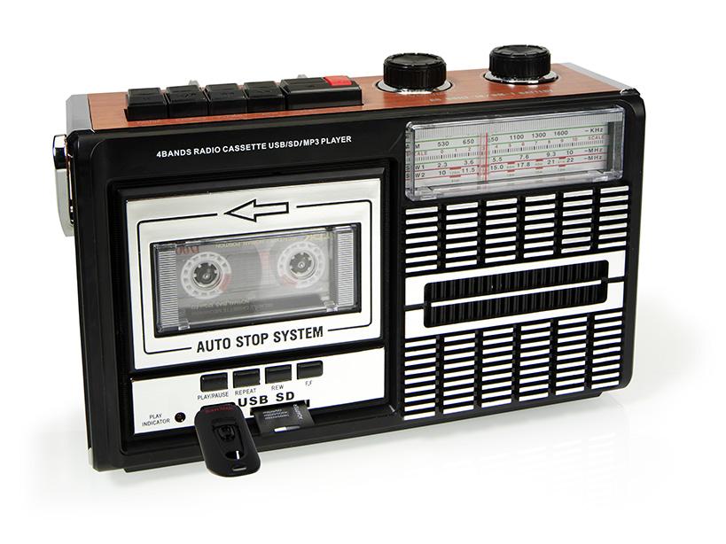 Riproduttore cassette audio con porta usb e card sd