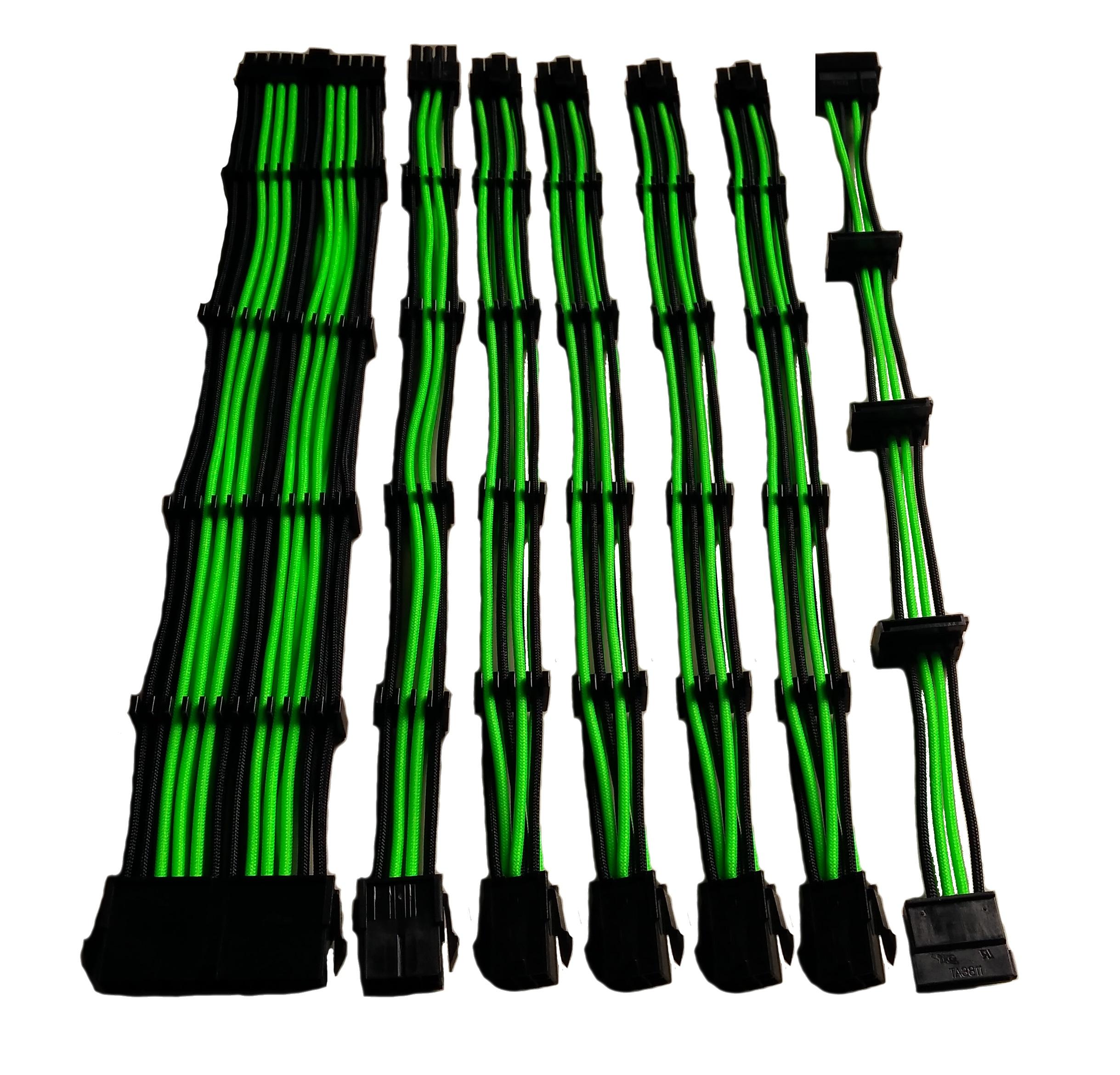 Set 7 prolunghe da 30 cm nylon verde/nero: 24pin, 4+4pin, 4 x pci-e 6+2, 4 x sata