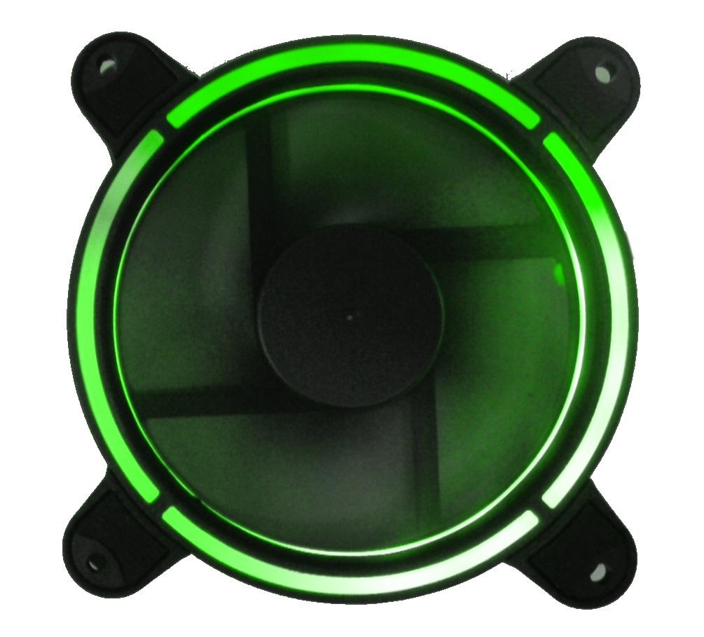 Ventola 120×120 12 volt connettore 3 poli+4 poli molex luce verde