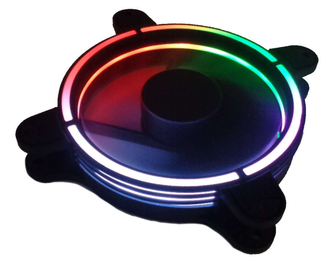Ventola 120×120 12 volt connettore 3 poli+4 poli molex luce rgb+rainbow (richiede controller)