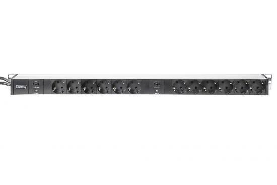 Multipresa in alluminio con 12 prese su 2 circuiti per armadi rack