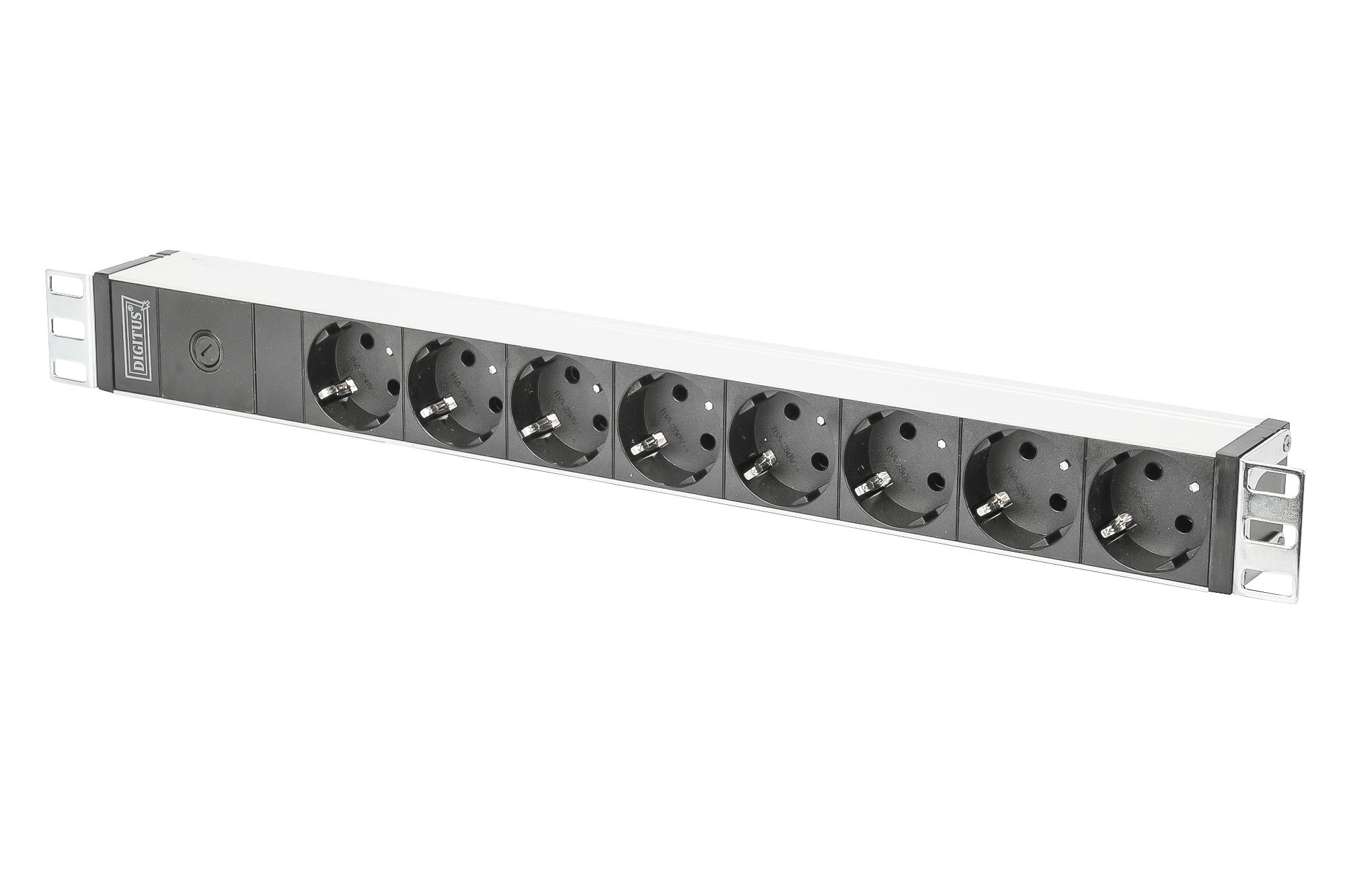Multipresa digitus in alluminio 8 prese schuko tedesche cavo mt 2 con spina iec c14