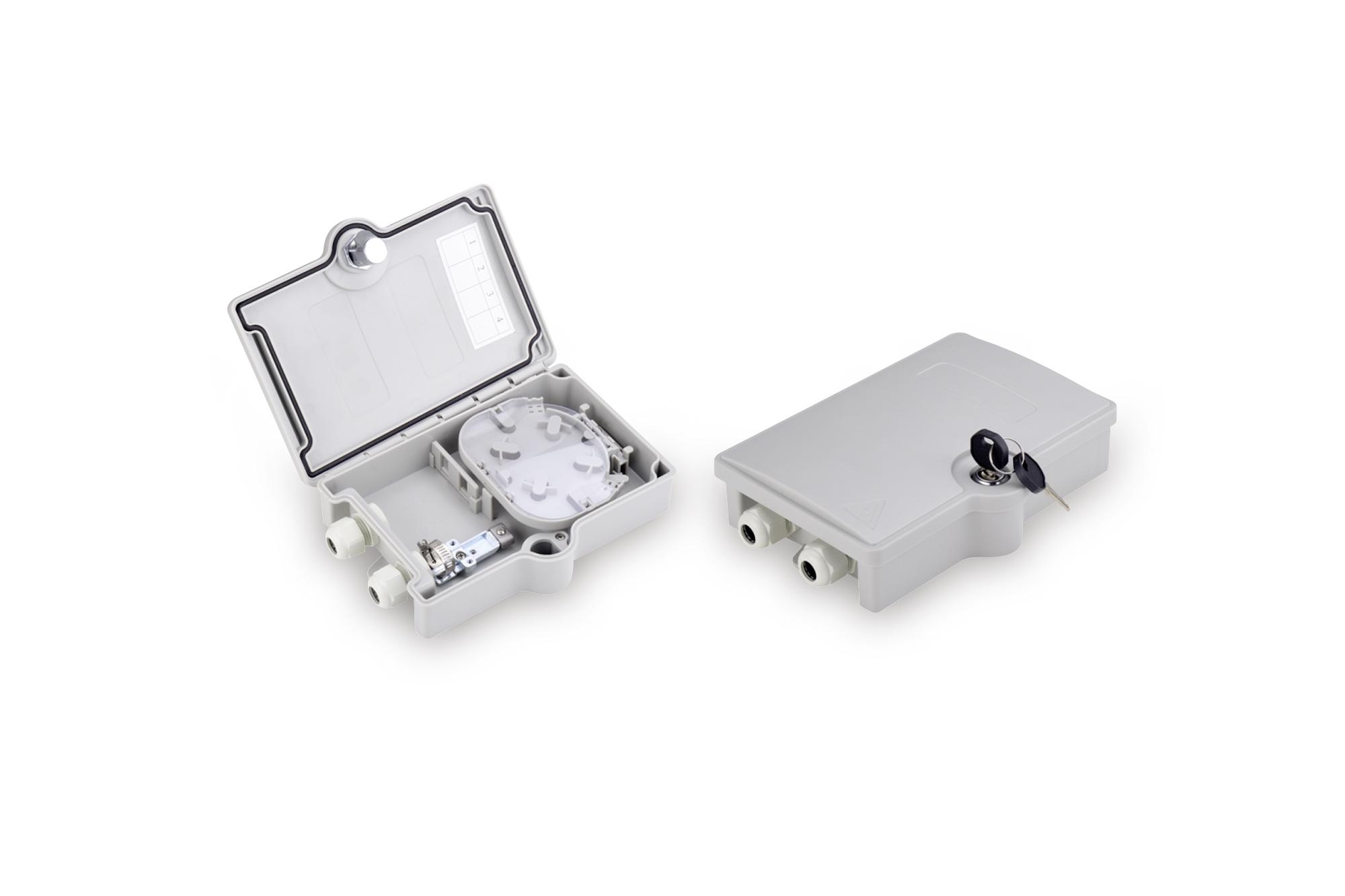 Box da esterno ftth per 2 adattatori sc/sx o 2 lc/dx
