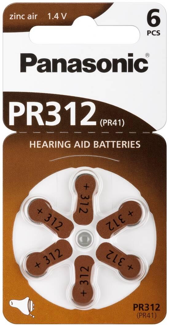 Confezione 6 pile a bottone 1,4 volt zinco pr41 (pr312)