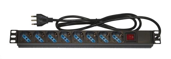Multipresa da rack 19″ 8 prese universali con interruttore spina italiana 16a