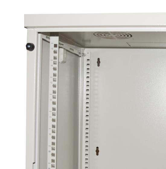 Armadio rack 19″ 9 unita' da muro per reti (a)485 x (l)540 x (p) 450 mm colore grigio porta vetro