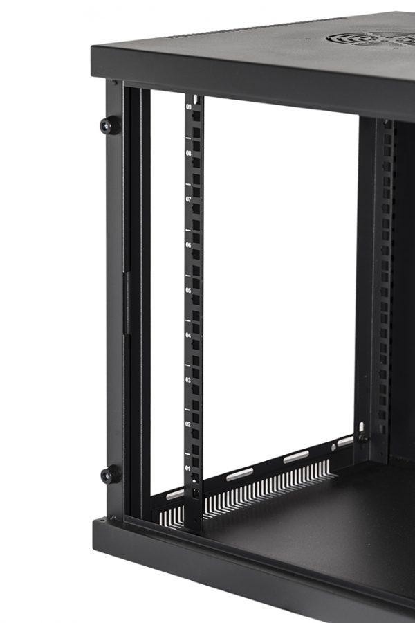 Armadio rack 19″ 9 unita' da muro per reti (a)485 x (l)540 x (p) 450 mm colore nero porta vetro