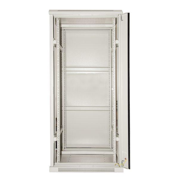 Armadio rack 19″ 27u (a)1388 (l)600 (p)600 colore grigio porta vetro