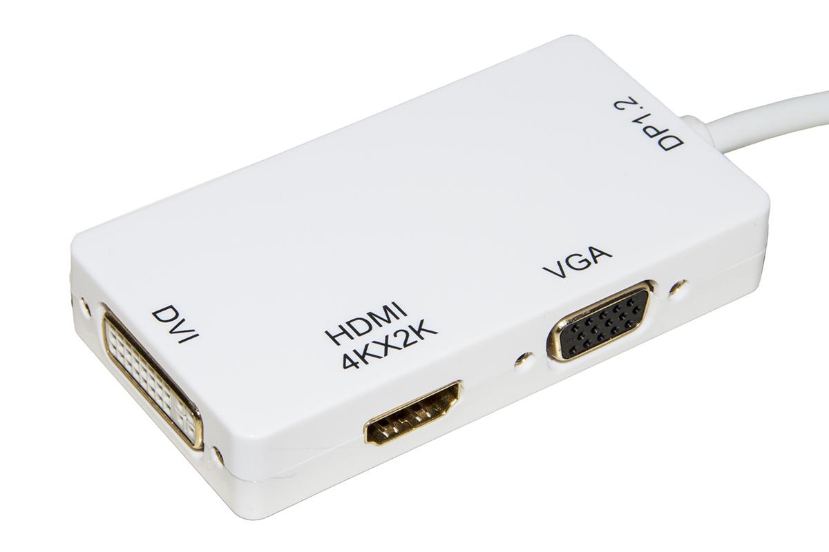 Adattatore mini displayport maschio 1.2 a dvi+hdmi 4kx2k+vga femmina