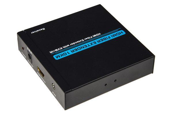 Estensore hdmi 1080p full hd tramite fibra ottica fino a 10 km con supporto infrarossi e porte usb per tastiera e mouse