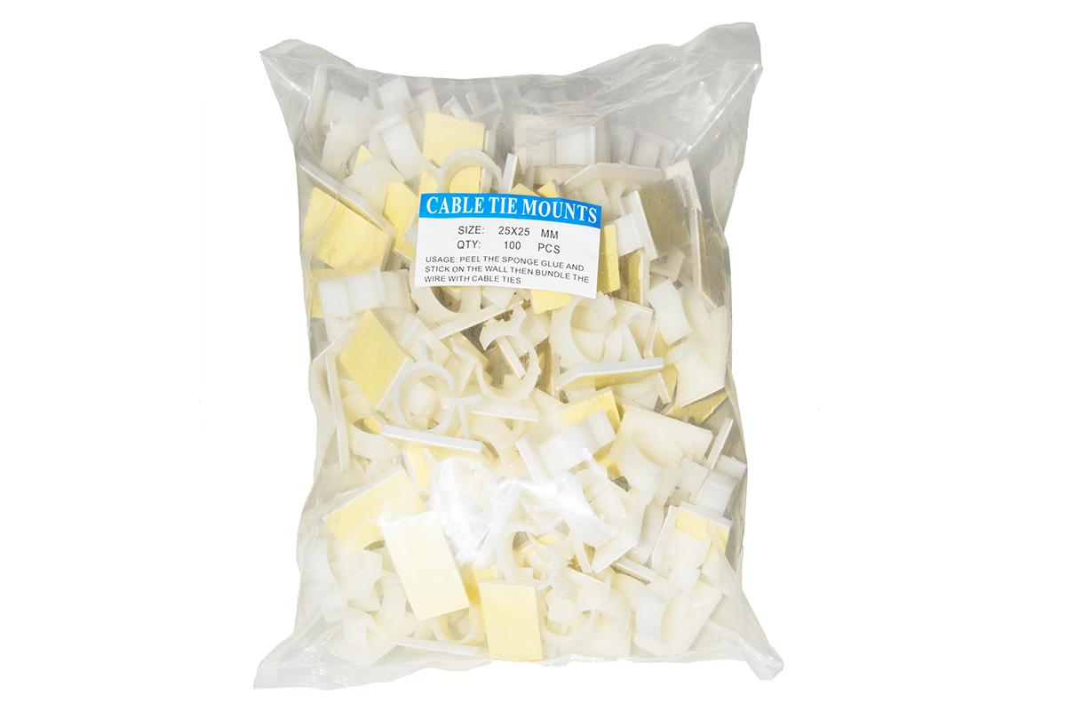 Confezione 100 supporti tondi adesivi in nylon per cavi mm 25