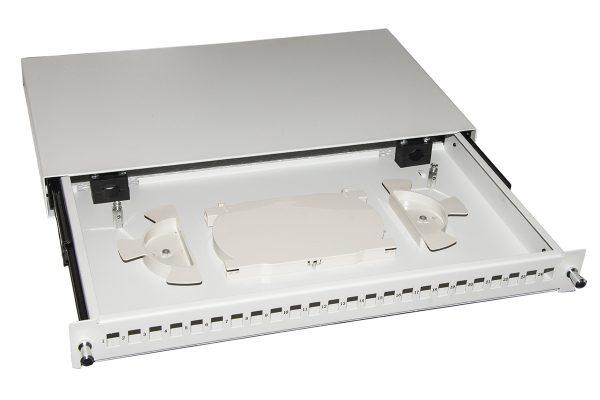 Cassetto fibra ottica 24 porte per adattatori lc duplex e sc simplex 1 unita' per installazione 19″ grigio con binari telescopici