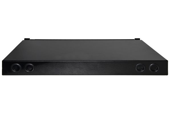 Cassetto fibra ottica 24 porte per adattatori lc duplex e sc simplex 1 unita' per installazione 19″ nero con binari telescopici