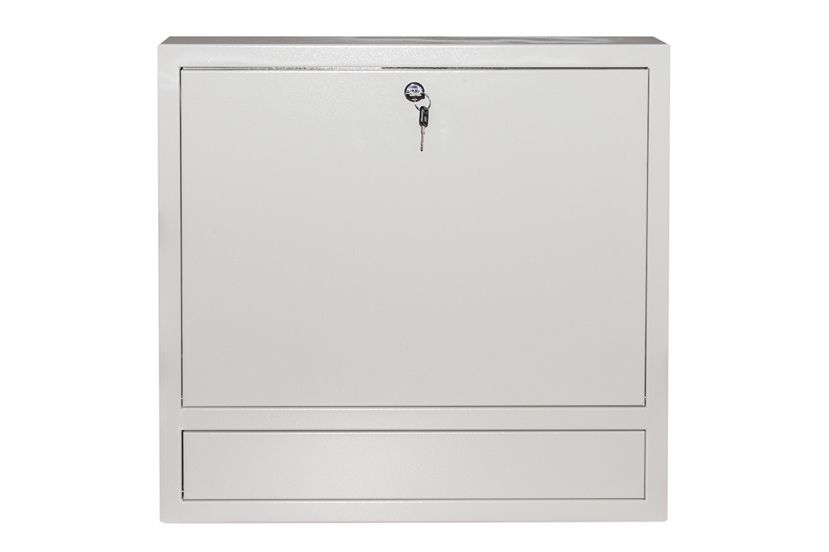 Armadio a muro per laptop con chiusura a chiave colore grigio