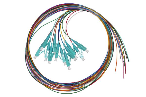 Set 12 cavi pigtail fibra ottica colorati connettori lc om3 simplex 2 mt