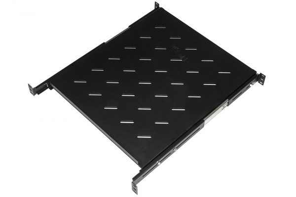 Ripiano universale per armadio rack estraibile su binari telescopici 1 unita' nero 550mm.