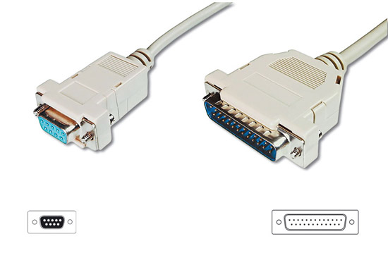 Cavo seriale rs232 null modem (incrociato) connettori 9 poli femmina 25 maschio mt 3