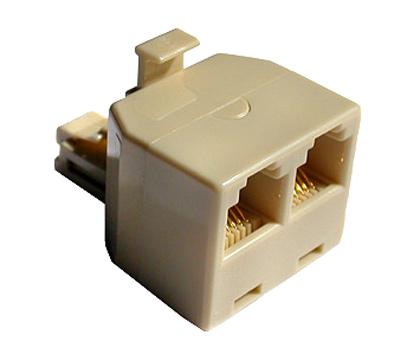 Adattatore telefonico 1×6 poli maschio – 2×6 poli femmina 6p4c