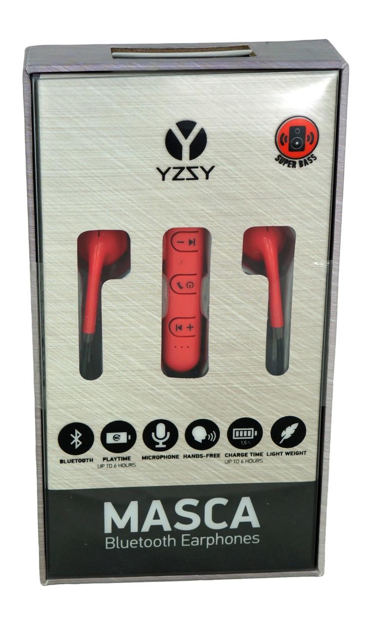 Auricolari bluetooth con microfono colore rosso