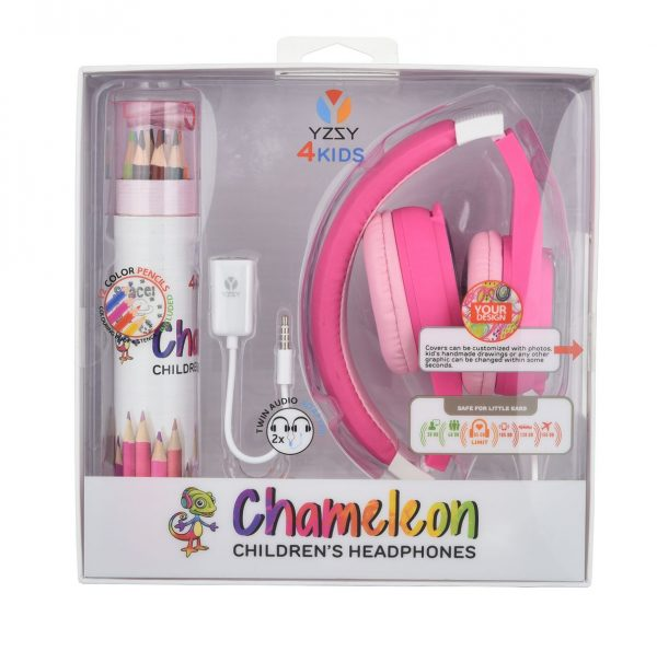 Cuffia per bambini colore rosa con matite, personalizzabile – connettore 3,5mm volume ridotto ipoallergenica