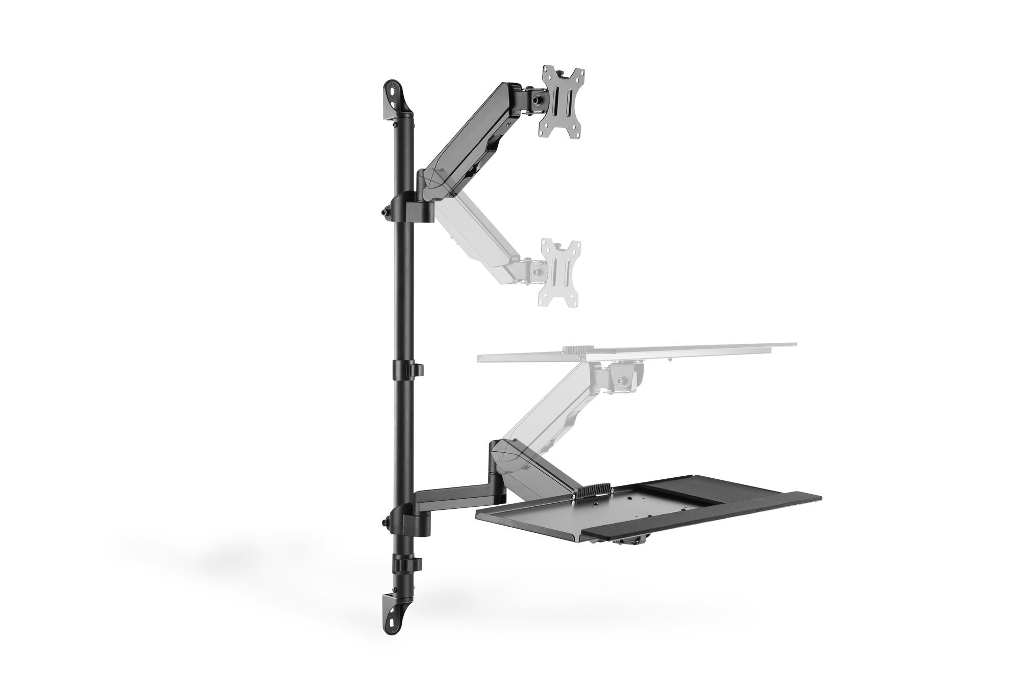 Postazione di lavoro flessibile per lavorare in piedi o seduti montaggio a parete digitus