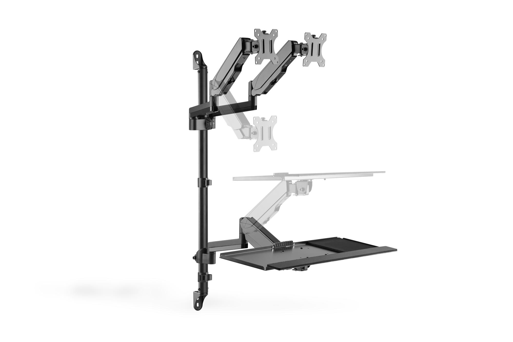 Postazione di lavoro flessibile per lavorare in piedi o seduti montaggio a parete doppio schermo digitus