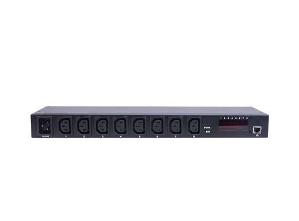 Multipresa 8 porte iec c13 femmina controllo tramite ip con display per volt e ampere e sensori ambientali temperatura e umidita'