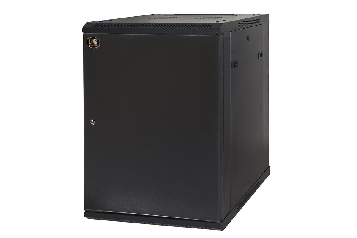 Armadio rack 19″ 12 unita' da muro (a) 635 x (l) 600 x (p) 450 nero disassemblato porta metallo chiuso