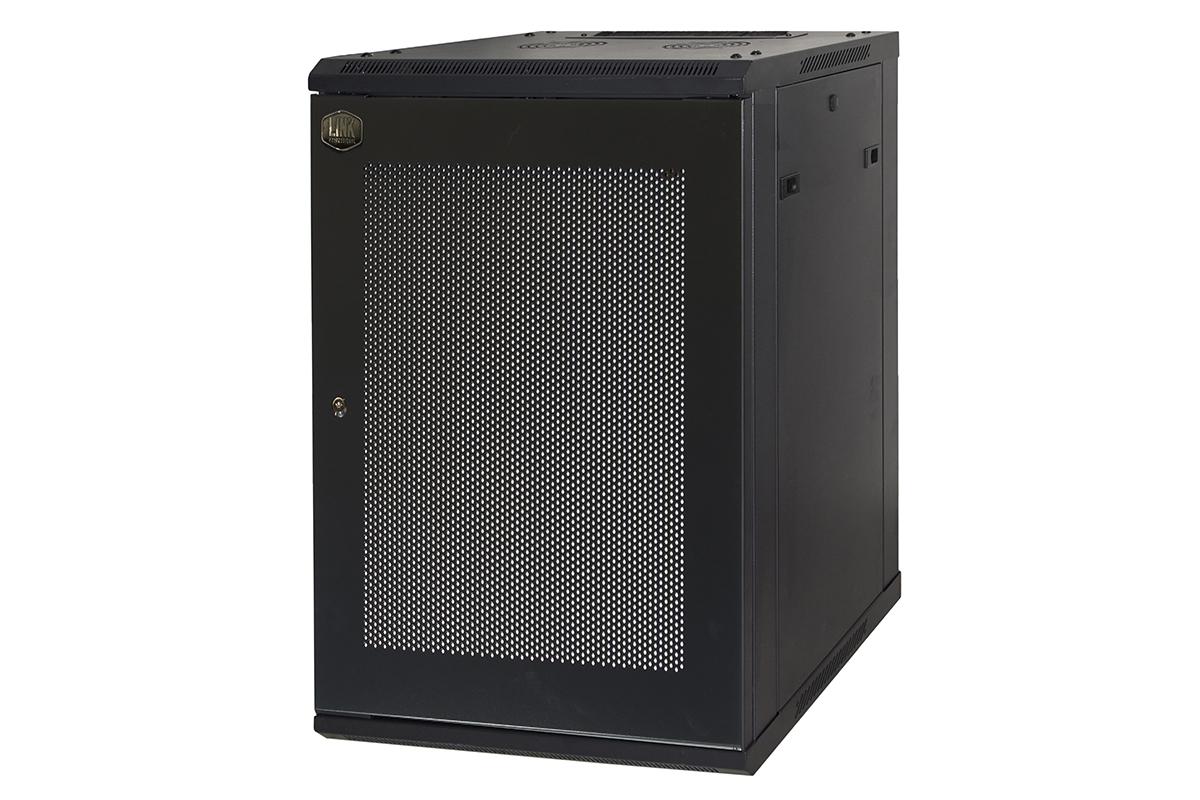 Armadio rack 19″ 15 unita' da muro (a) 770 x (l) 600 x (p) 450 nero disassemblato porta traforata