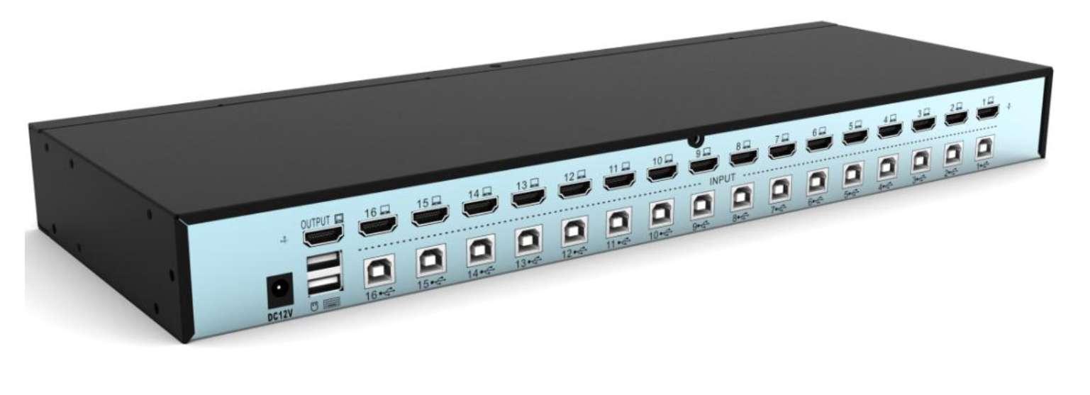 Switch kvm 16 porte per 16 pc usb/hdmi con un mouse e tastiera usb e video hdmi, cavi inclusi, gestione manuale e osd