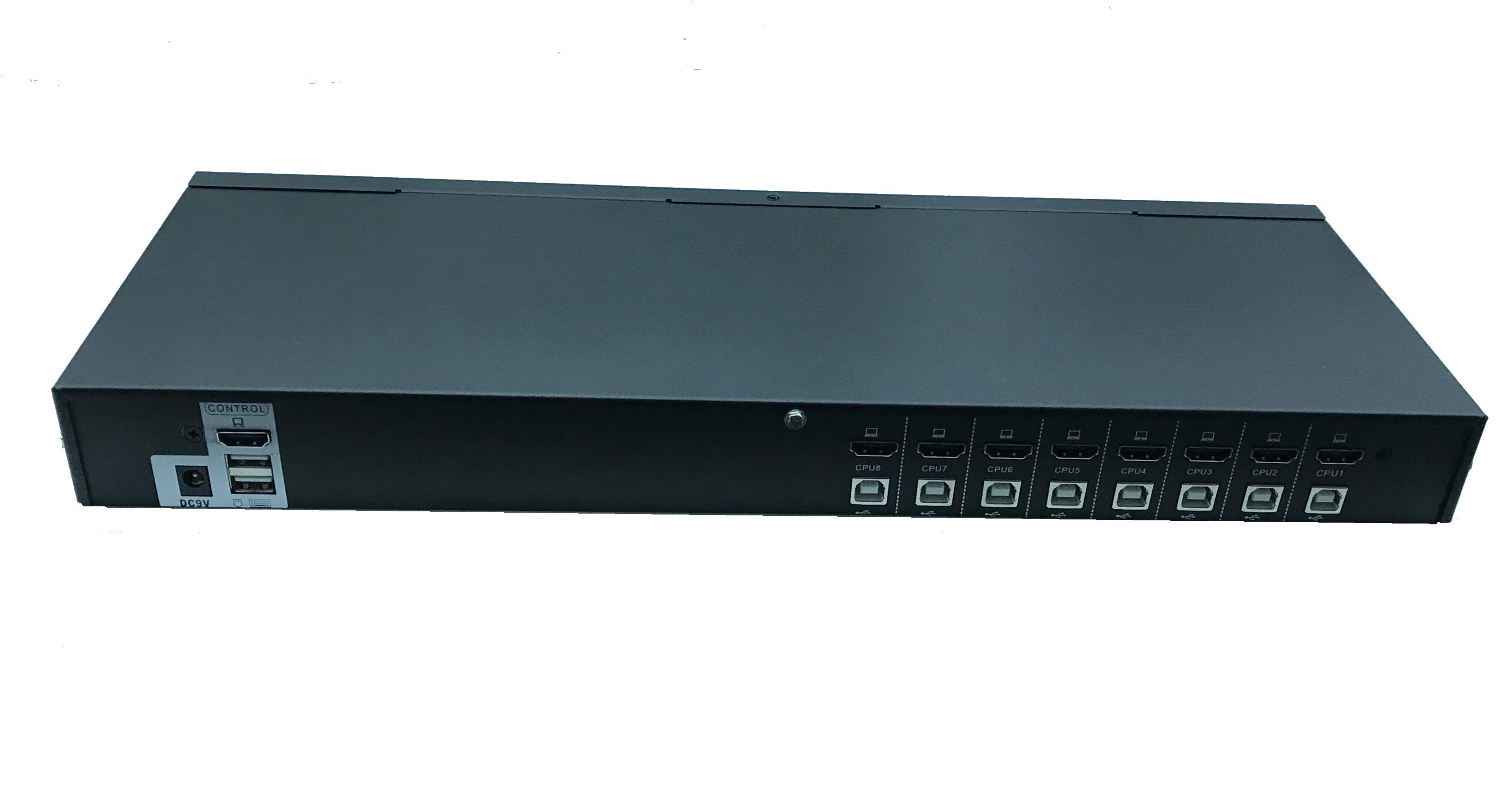 Switch kvm 8 porte per 8 pc usb/hdmi con un mouse e tastiera usb e video hdmi, cavi inclusi, gestione manuale e osd