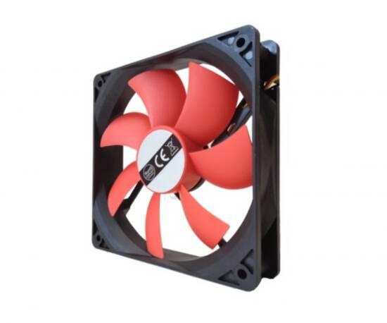 Ventola 12 volt 120×120 mm colore rosso connettore molex 4 poli