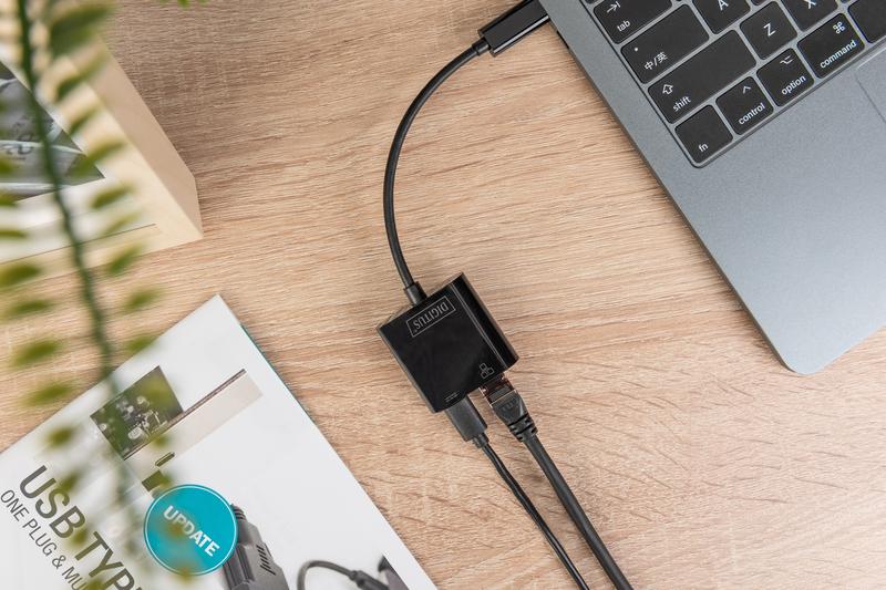 Adattatore usb-tipo-c / rete gigabit + porta pd per alimentazione