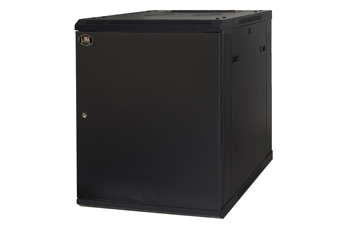 Armadio rack 19″ 9 unita' da muro a) 500 x (l) 600 x (p) 450 nero disassemblato porta metallo pieno