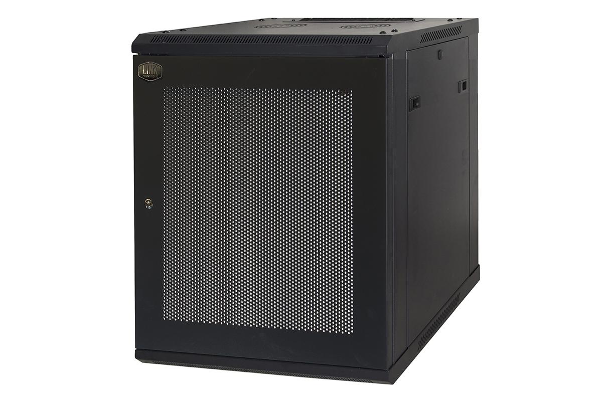 Armadio rack 19″ 9 unita' da muro a) 500 x (l) 600 x (p) 450 nero disassemblato porta metallo traforata
