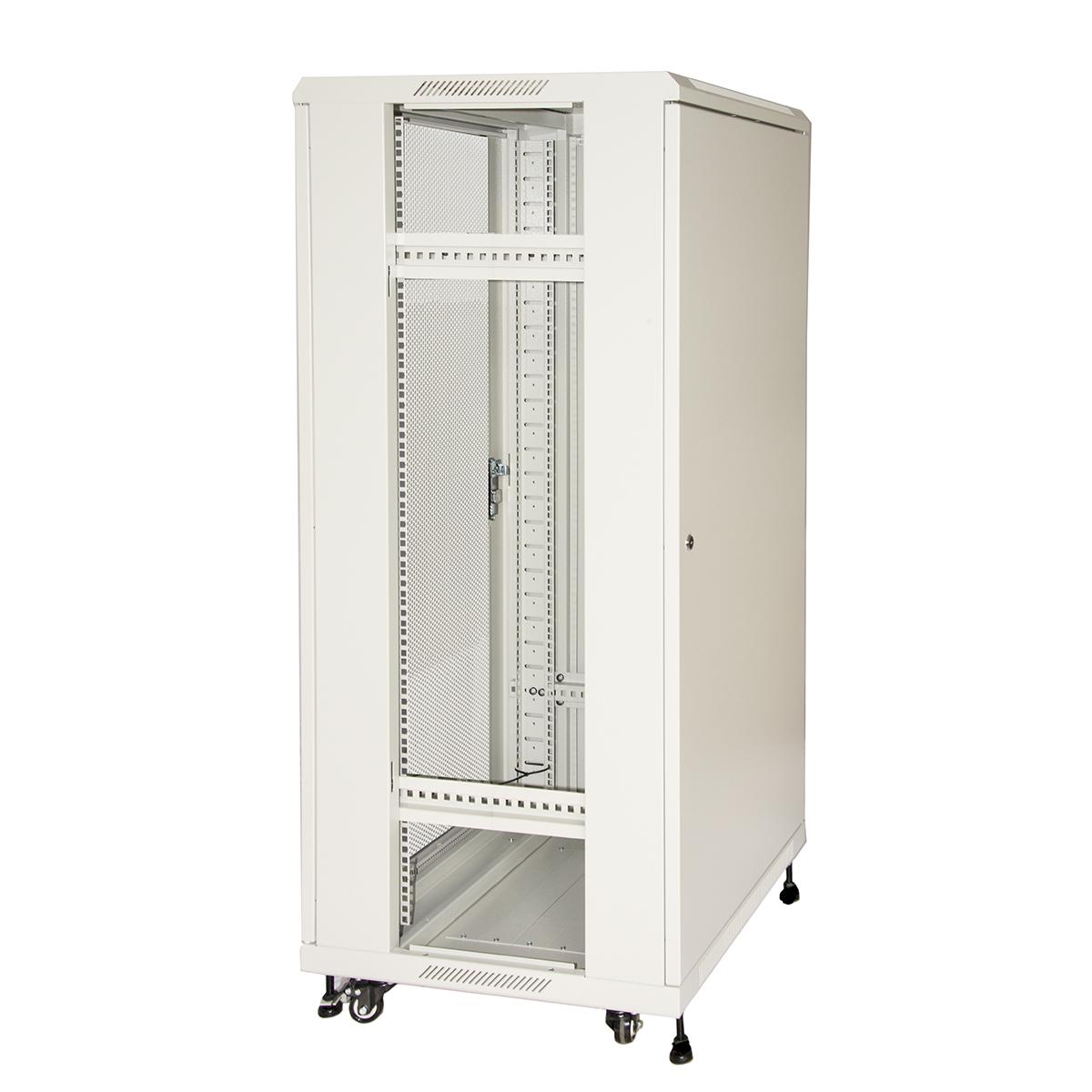 Armadio rack 19″ 27u (a)1388 (l)600 (p)1000 colore grigio porta metallo traforata