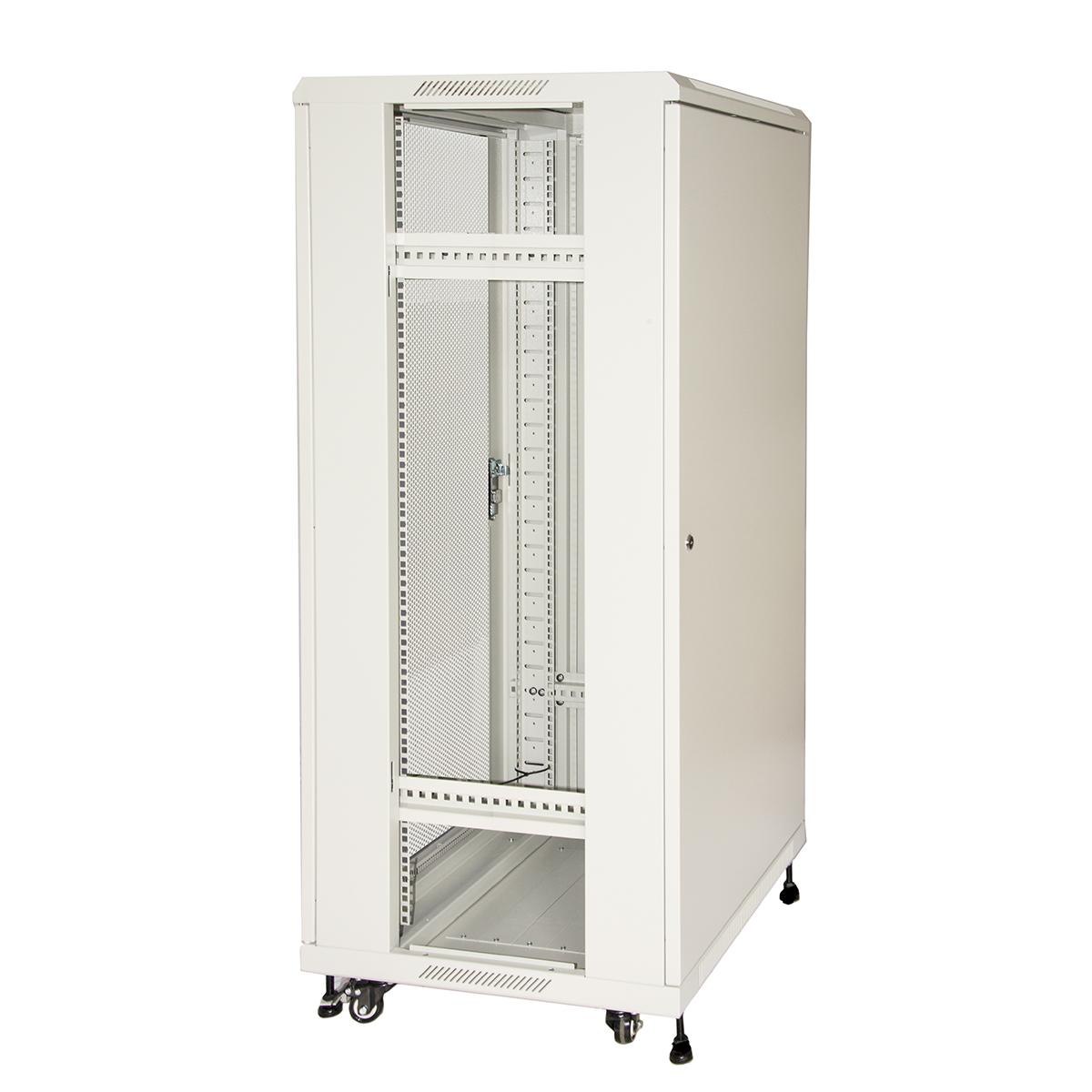 Armadio rack 19″ 27u (a)1388 (l)600 (p)600 colore grigio porta metallo traforata