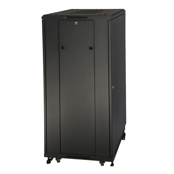 Armadio rack 19″ 27u (a)1388 (l)600 (p)600 colore nero porta metallo pieno