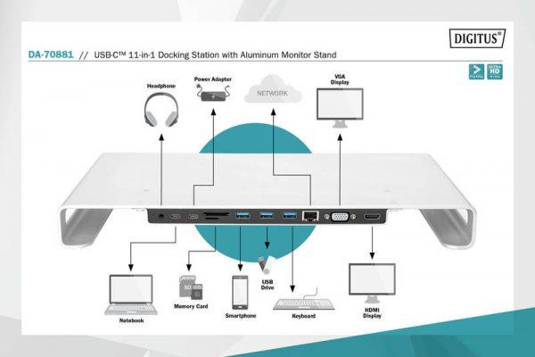 Docking station usb-c 11 in 1 con supporto per monitor in alluminio digitus