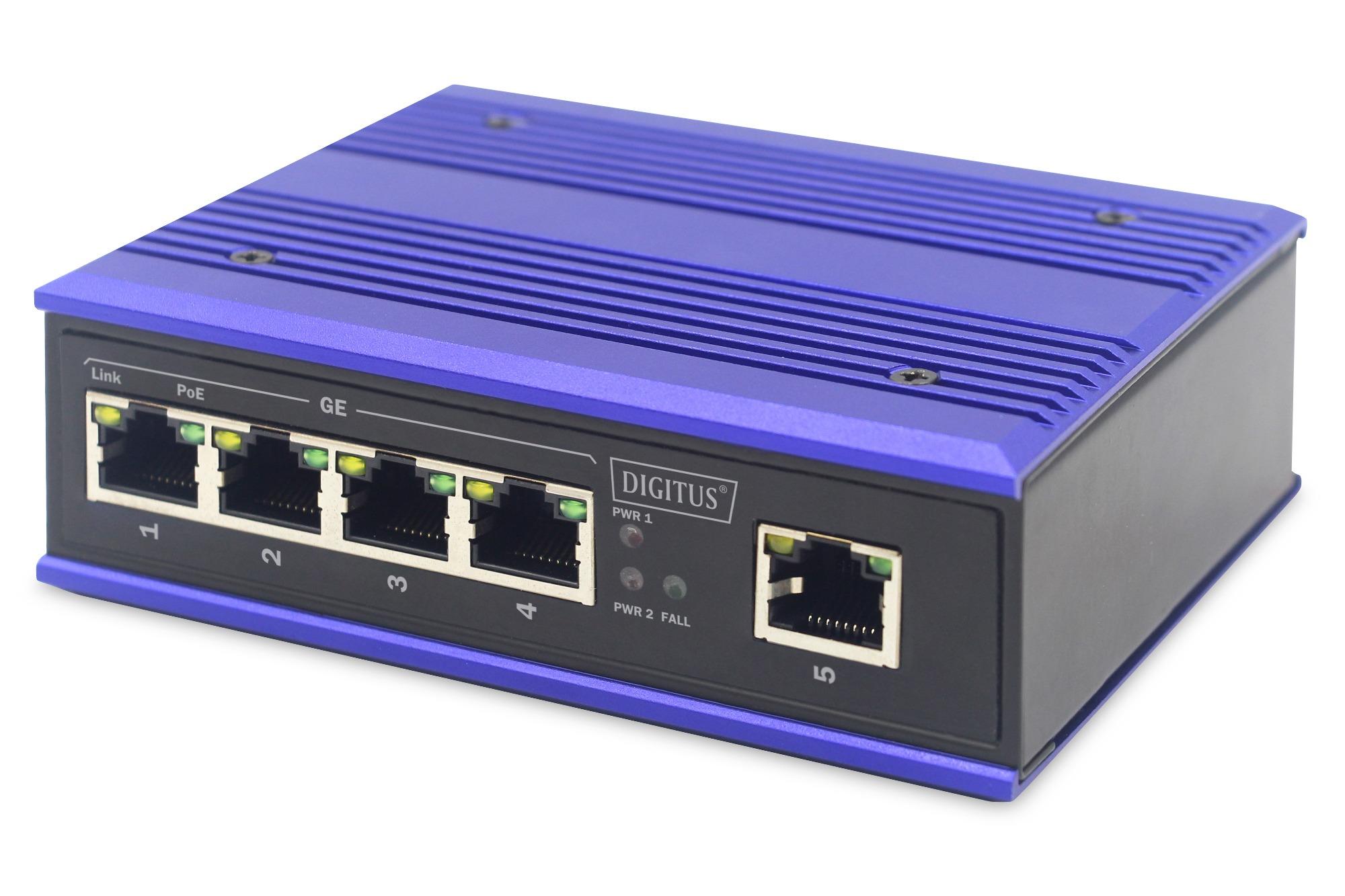 Switch industriale 4 porte gigabit poe + 1 porta uplink din rail