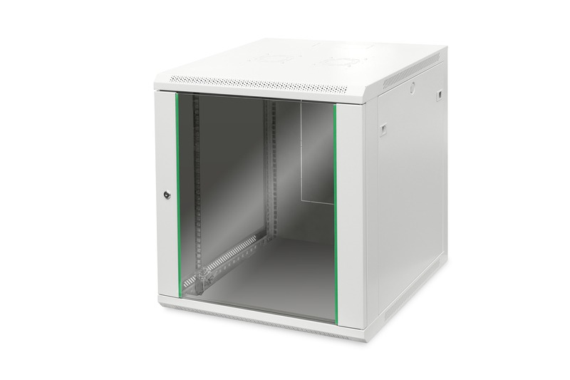 Armadio rack 19″ 12 unita' da muro (a)638 x (l)600 x profondita' 600 mm. colore grigio porta vetro