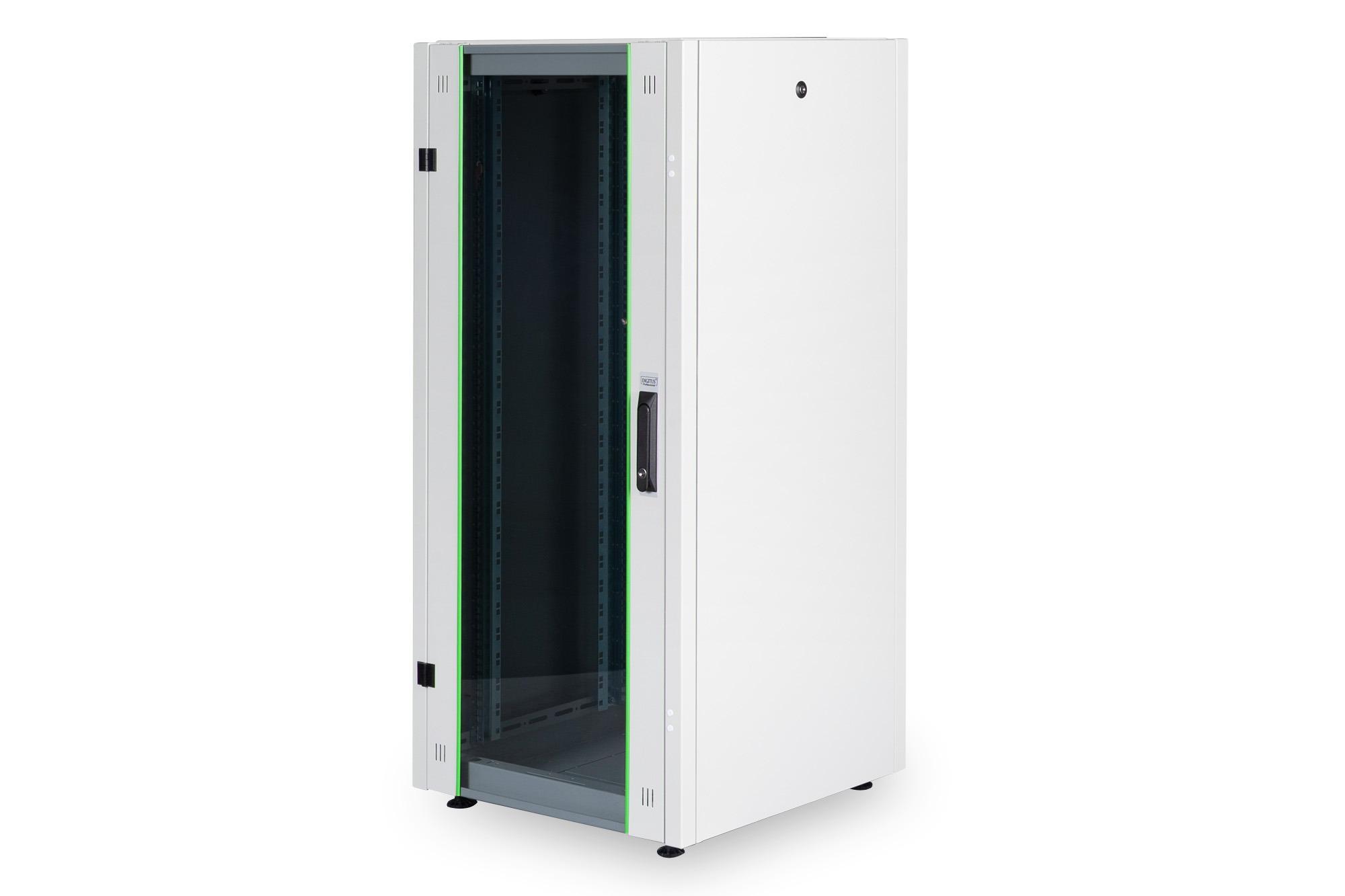 Armadio rack per reti 19″ 22u (a)1121, (l)600, (p)600 colore grigio porta vetro disassemblato digitus