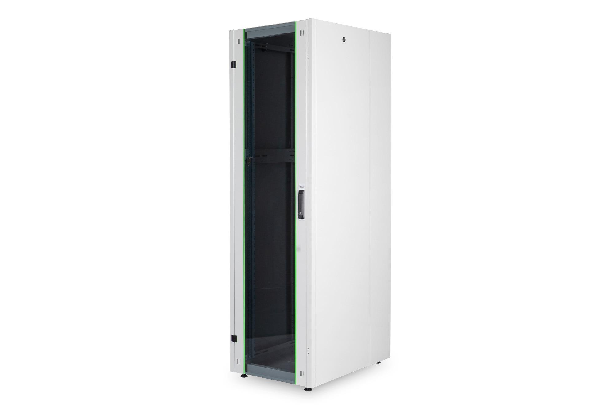 Armadio rack per reti 19″ 16u (a)855, (l)600, (p)800 colore grigio porta vetro disassemblato digitus