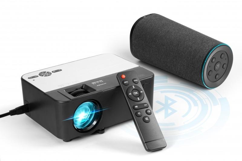 Mini proiettore bluetooth per contenuti multimediali con telecomando
